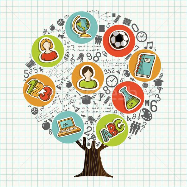 Arbre · école · icônes · éducation · symboles - illustration ...