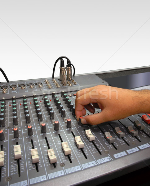 Hang keverő konzol kéz fehér lemez Stock fotó © cienpies
