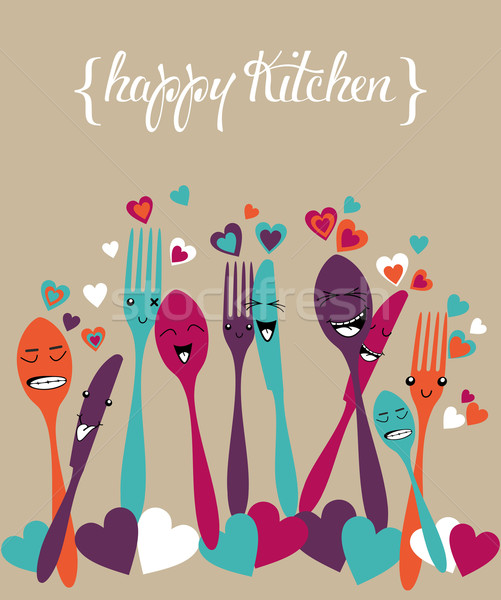 幸せ キッチン 銀食器 漫画 セット カラフル ストックフォト © cienpies