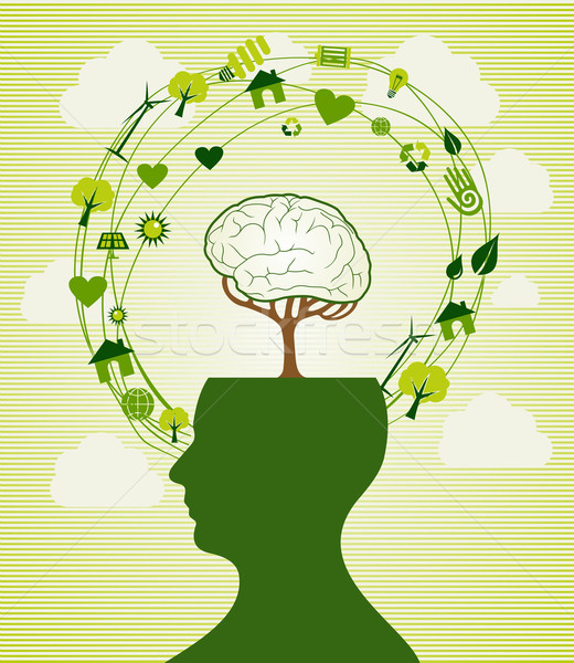 Green recycle head illustration Stock photo © cienpies