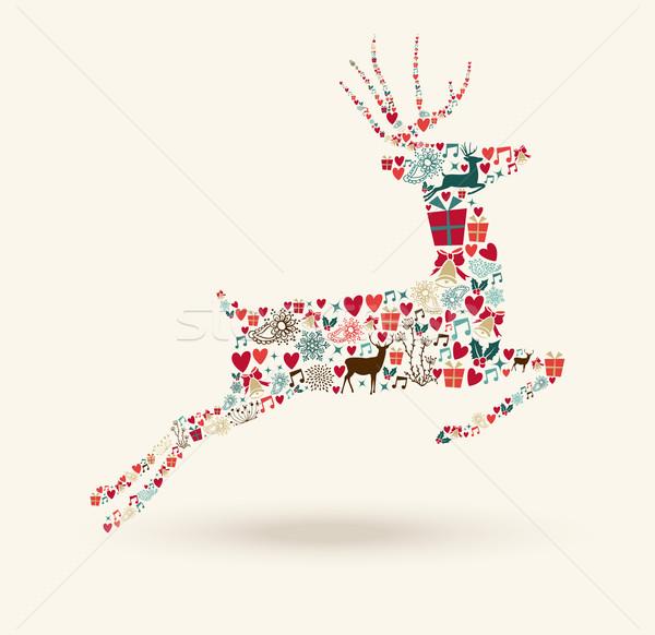 Foto stock: Alegre · Navidad · ir · ciervos · ilustración · vacaciones