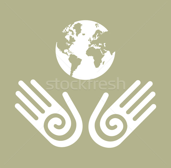 Stock fotó: élet · Föld · kezek · kettő · fehér · földgömb