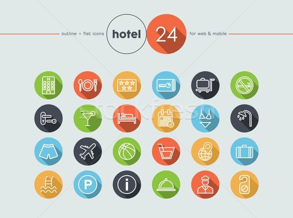 Hotel flat icons set Stock photo © cienpies