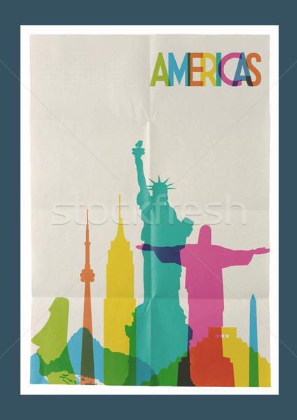 Stock fotó: Utazás · sziluett · klasszikus · poszter · híres · papír