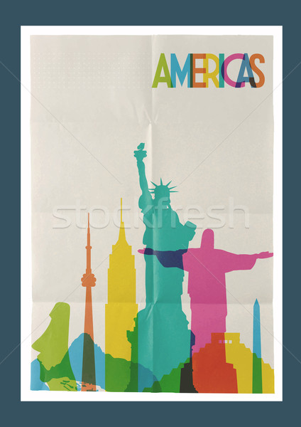Travel Americas landmarks skyline vintage poster Stock photo © cienpies