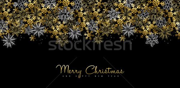 Christmas nieuwjaar goud social media dekken vrolijk Stockfoto © cienpies