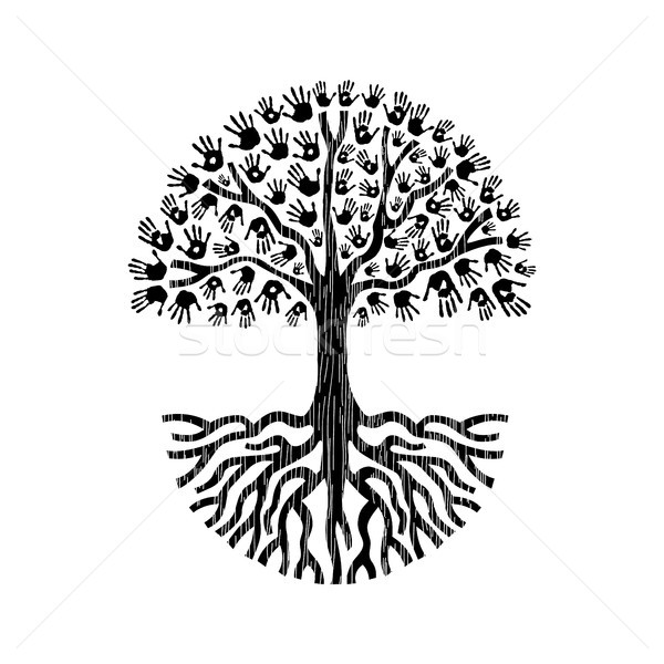 Stock photo: Black and white hand tree illustration isolated