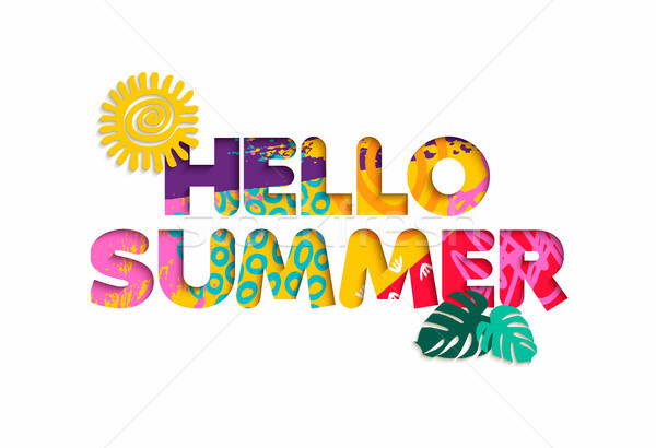 Hello summer tropical vacation color cutout quote Stock photo © cienpies