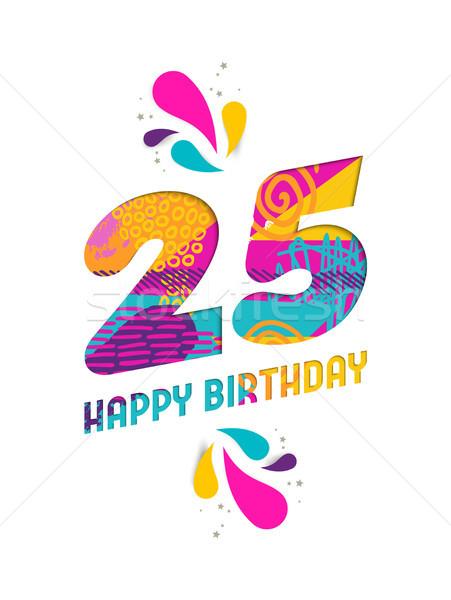 お誕生日おめでとうございます 25 年 紙 カット グリーティングカード ストックフォト © cienpies