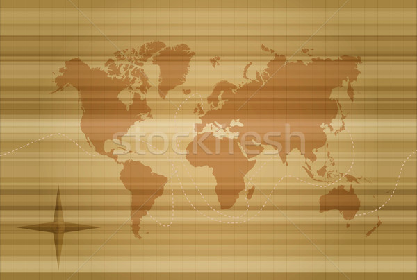 Vintage Мир карта шаблон иллюстрация силуэта стиль Сток-фото © cienpies