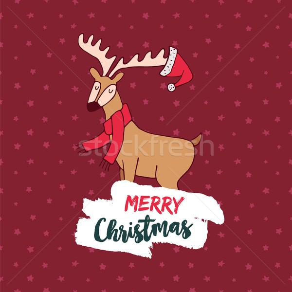 Noël cute hiver cerfs doodle carte de vœux Photo stock © cienpies