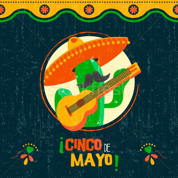 Cinco de mayo card of fun mexican mariachi cactus Stock photo © cienpies