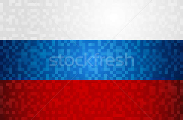 Russia flag background design in pixel art style  Stock photo © cienpies