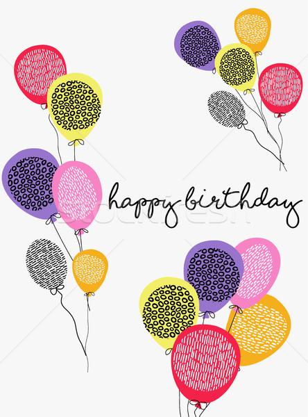 Joyeux anniversaire fête ballon carte de vœux design illustration Photo stock © cienpies