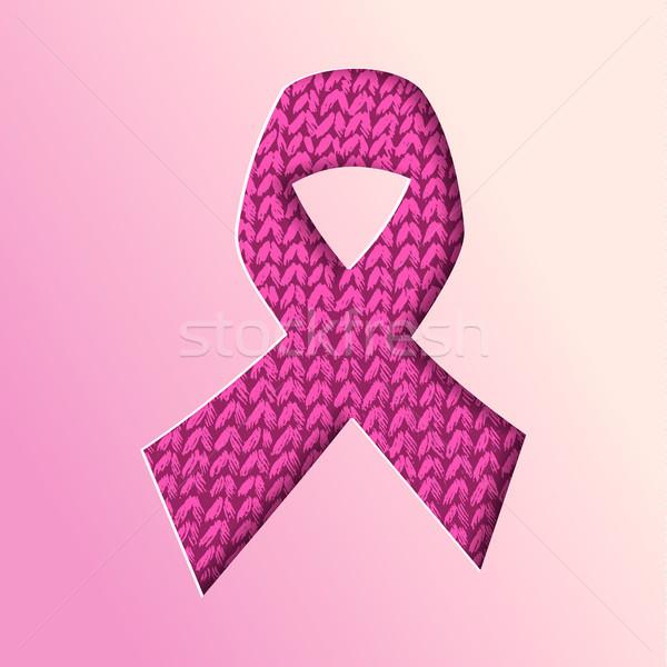 Breast Cancer Awareness pink ribbon cutout concept Stock photo © cienpies