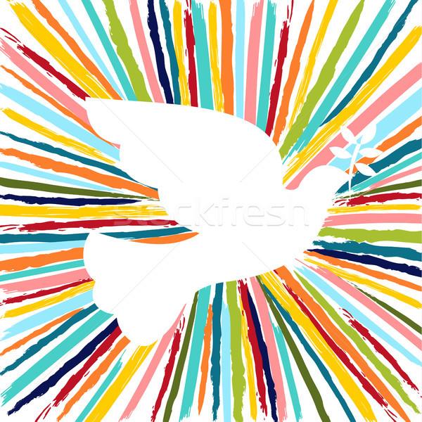 Coloré colombe oiseau couleur dessinés à la main brosse Photo stock © cienpies
