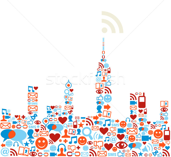 Social media network city concept Stock photo © cienpies