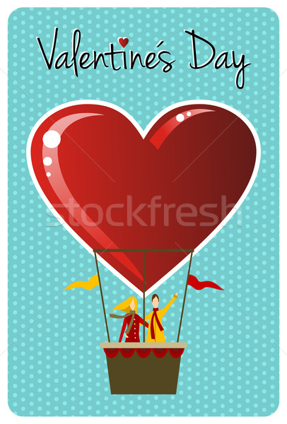 Couple in hot air balloon Valentines day greeting card Stock photo © cienpies