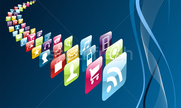 Global mobile phone apps icons Stock photo © cienpies