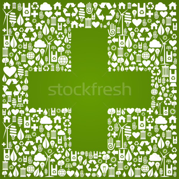 Plus sign shape over eco icons background Stock photo © cienpies