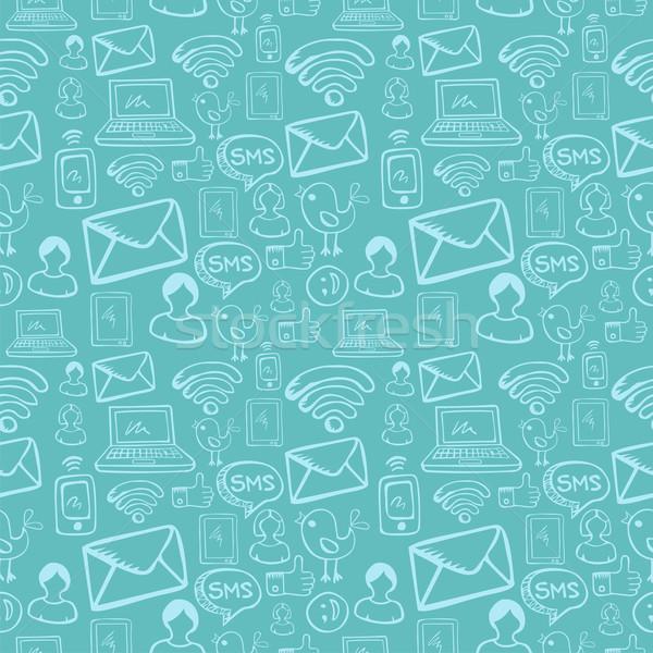 Social media cartoon icons pattern Stock photo © cienpies