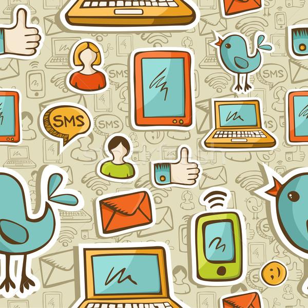 ストックフォト: ソーシャルメディア · 漫画 · アイコン · カラフル · パターン
