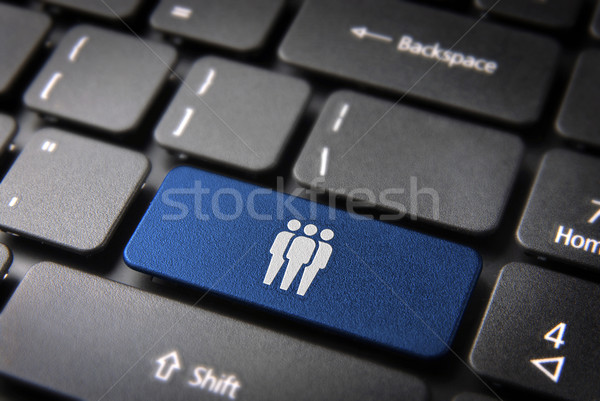 Blue network team keyboard key, business background Stock photo © cienpies