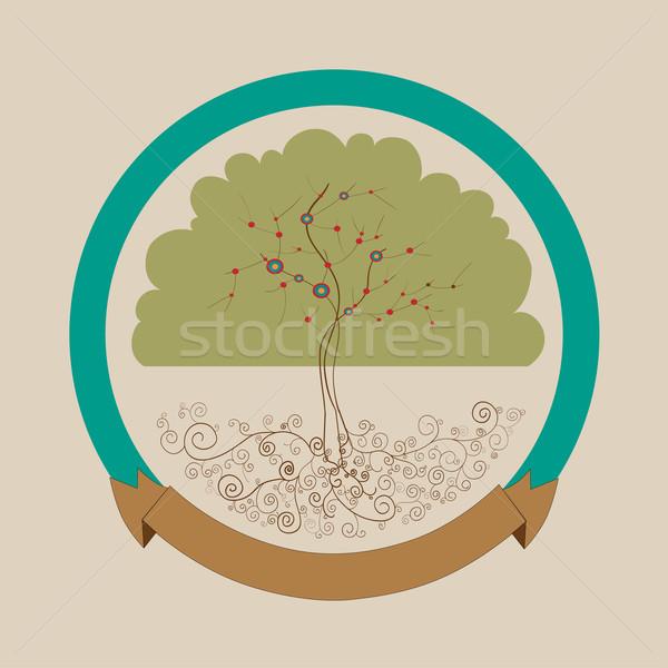 Trendy bright tree label design Stock photo © cienpies