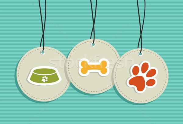 Hanging pet badges set. Stock photo © cienpies
