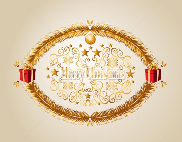 Merry Christmas mistletoe background EPS10 vector file. Stock photo © cienpies