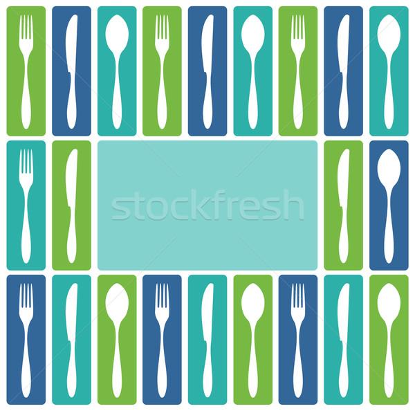 Cubiertos marco alimentos restaurante menú diseno Foto stock © cienpies