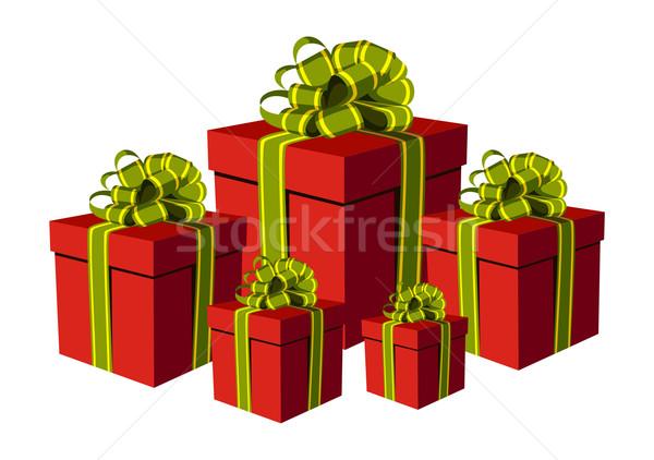 Foto stock: Vermelho · caixas · de · presente · verde · dourado · ilustração