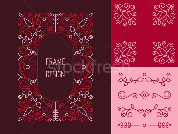 Retro vintage monogram ingesteld lijn ontwerp Stockfoto © cienpies