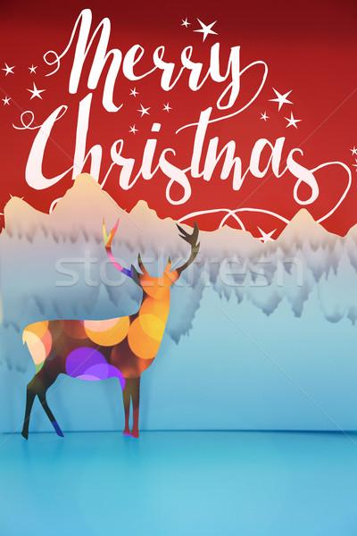 Merry christmas paper cut art deer bokeh card Stock photo © cienpies