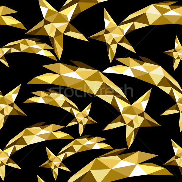 Shooting star seamless pattern gold low poly xmas Stock photo © cienpies