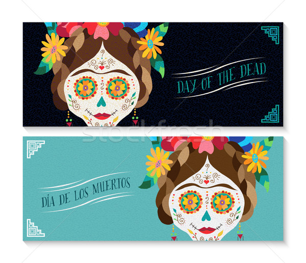 Dia de los muertos banner set with happy skull Stock photo © cienpies