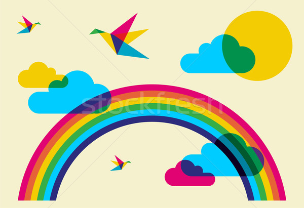 Colorful humming birds and rainbow Stock photo © cienpies
