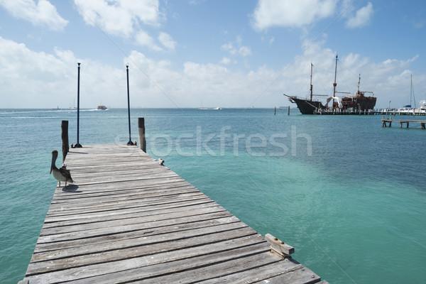 Paraíso paisagem caribbean mar madeira pier Foto stock © cienpies