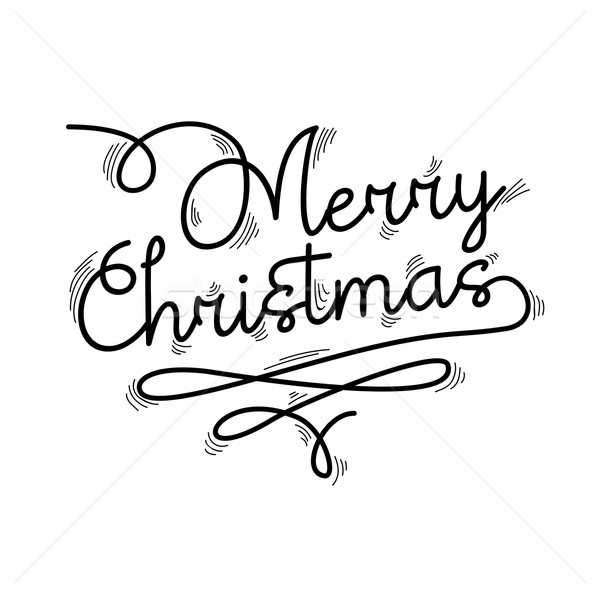 Merry Christmas Text.Merry Christmas Text Quote Lettering Design Vector