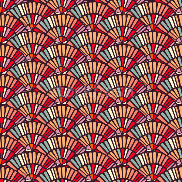 Colorful hand fan mosaic tile seamless pattern Stock photo © cienpies