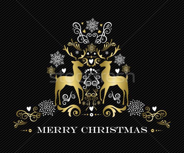 Oro allegro Natale design ornamento renne Foto d'archivio © cienpies