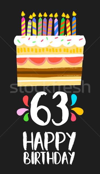 Joyeux anniversaire carte soixante trois année gâteau Photo stock © cienpies