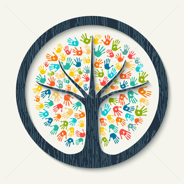 Hand print tree of diverse community team help Stock photo © cienpies