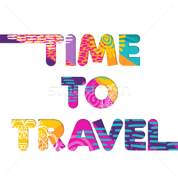Summer vacation travel color cutout text quote Stock photo © cienpies