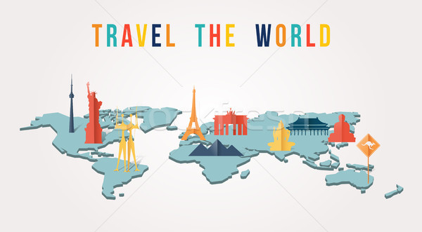 Travel the world paper cut monument map design Stock photo © cienpies