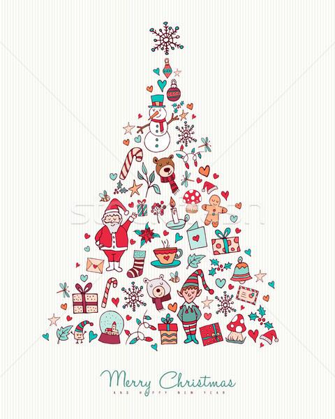 Noel yılbaşı ikon çam ağacı neşeli Stok fotoğraf © cienpies