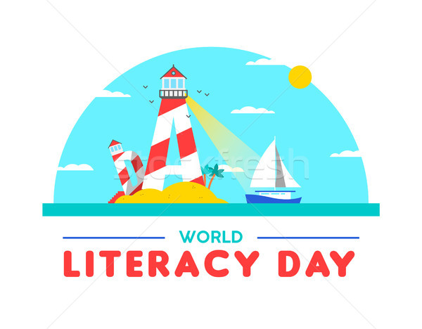 Literacy day card concept for people education Stock photo © cienpies