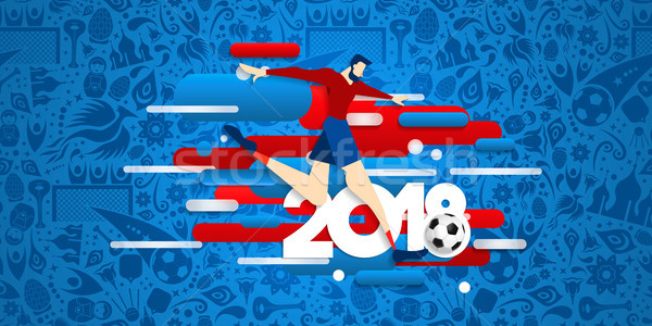 Soccer match web banner for 2018 sport event Stock photo © cienpies