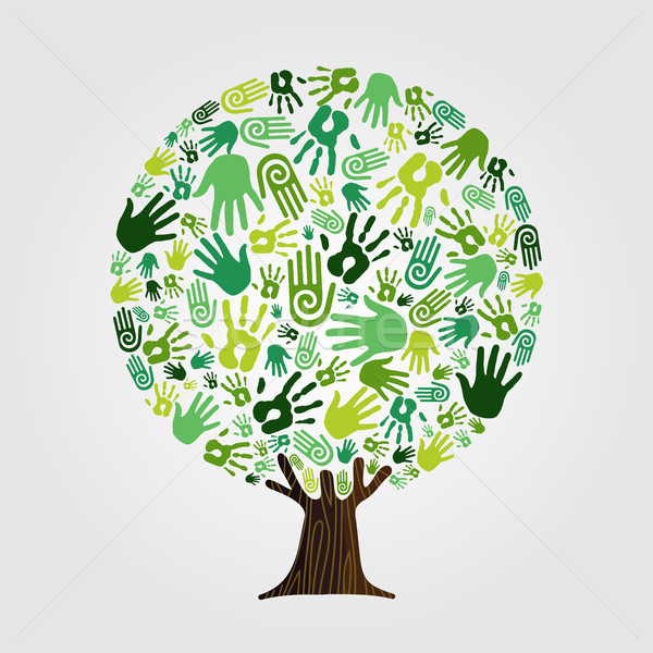 Green hand print tree for nature concept Stock photo © cienpies