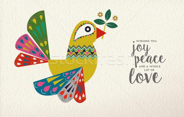 Christmas and New Year dove bird folk art card Stock photo © cienpies